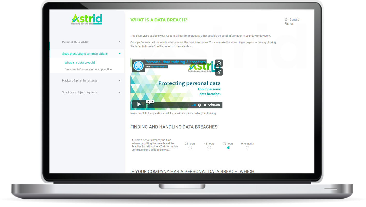 Astrid's training module to help small businesses become GDPR compliantt